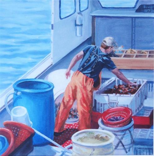 """Maine Lobsterman"" original fine art by Christine Blain"