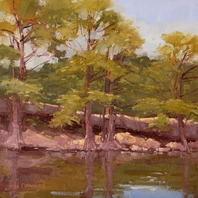 """Swimming Hole Cypress"" original fine art by Laurel Daniel"