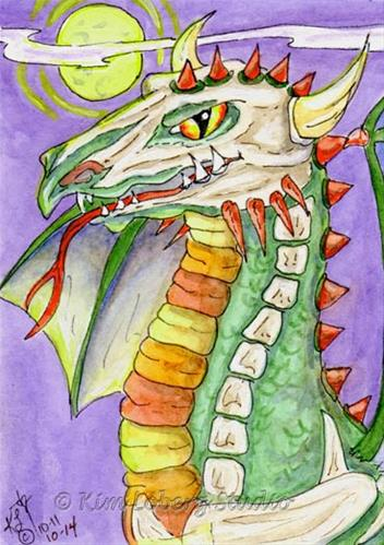 """Bones Dragon"" original fine art by Kim Loberg"