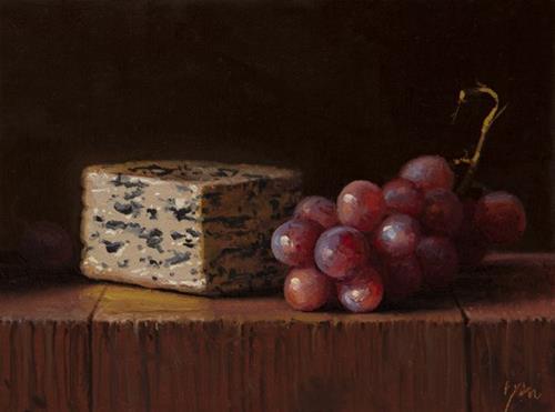 """Still Life with Red Grapes & Fourme d'Ambert Bleu"" original fine art by Abbey Ryan"