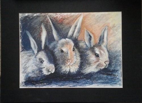 """""""3 Bunnies"""" original fine art by Camille Morgan"""