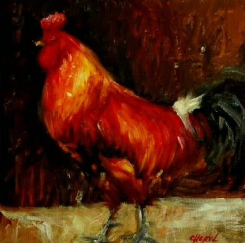 """Rooster 1"" original fine art by Cheryl Abling"