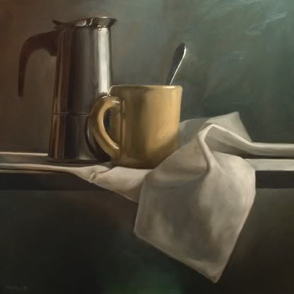"""Espresso with Mug and Spoon"" original fine art by Michael Naples"