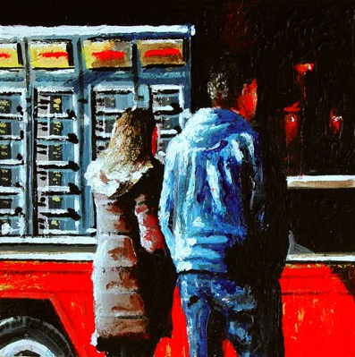 """""""Friet Kot- People Waiting In Line To Buy Some French Fries At Market Stall"""" original fine art by Gerard Boersma"""