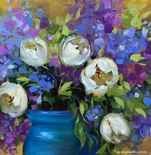 """A New E-Course Unveiled - The Kiss, White Tulips - Nancy Medina Art"" original fine art by Nancy Medina"