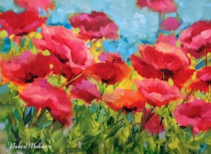 """Sun and Sky Poppies by Texas Flower Artist Nancy Medina"" original fine art by Nancy Medina"