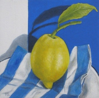 """Lemon on Blue"" original fine art by Pera Schillings"
