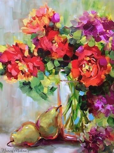 """Orange Julius Parrot Tulip Painting by Floral Artist Nancy Medina"" original fine art by Nancy Medina"