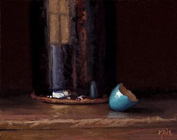 """Robin's Egg with Handmade Temmoku Bottle"" original fine art by Abbey Ryan"