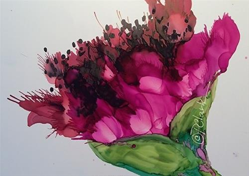 """Fushia Glory, 5 x 7 inch Alcohol Ink, Floral"" original fine art by Donna Pierce-Clark"