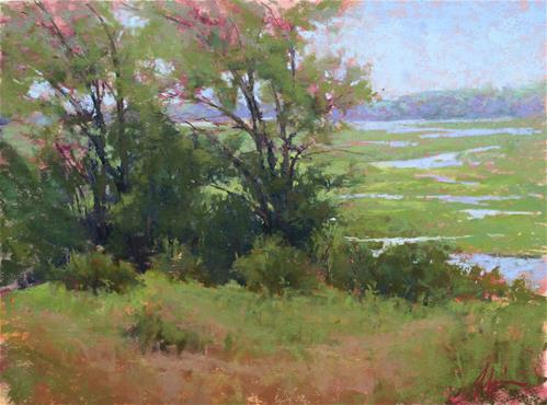 """Summer Marsh Overlook"" original fine art by Jacob Aguiar"