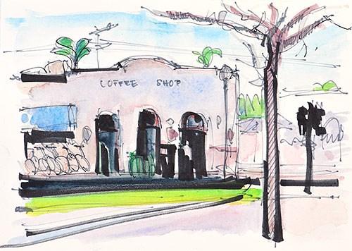 """""""Coffee Shop, Coronado"""" original fine art by Kevin Inman"""