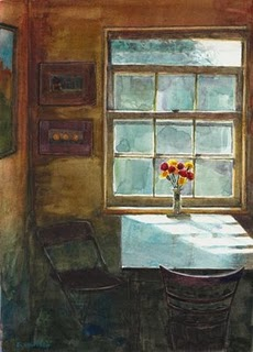 """Watercolor: Breakfast Nook"" original fine art by Belinda Del Pesco"
