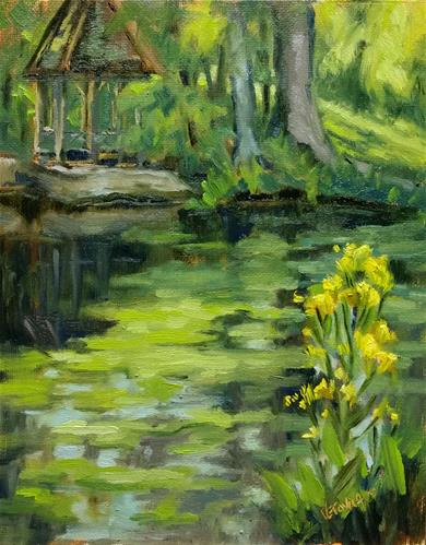 """Duckweed and wildflowers-en plein air"" original fine art by Veronica Brown"