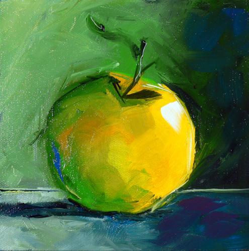 """Little Yellow Apple"" original fine art by - JanettMarie"