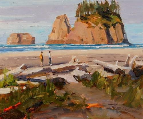 """Beach Combers  oil, marinescape painting by Robin Weiss"" original fine art by Robin Weiss"