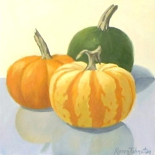 """Mini Pumpkins Portrait"" original fine art by Karen Johnston"
