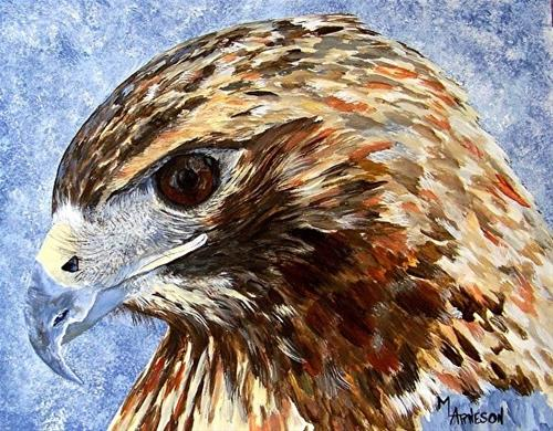 """Wildlife Art, Hawk Painting, Acrylic Hawk by Mary Arneson Art-Works of Whimsy"" original fine art by Mary Arneson"