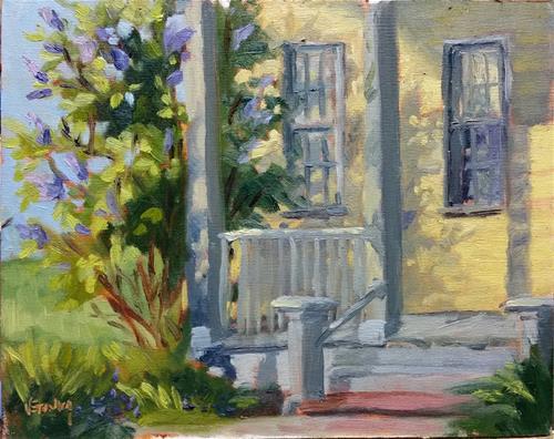"""""""Lilac Shadows-en plein air"""" original fine art by Veronica Brown"""