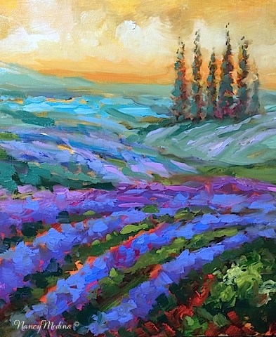 """The View from Italy - Cerulean Dreams Lavender Fields - Paintings by Nancy Medina"" original fine art by Nancy Medina"