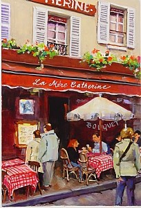 """A stroll through Montmarte"" original fine art by Laurie Johnson Lepkowska"