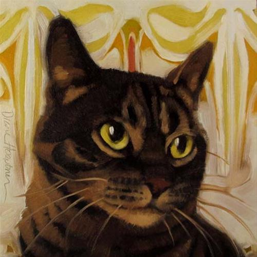 """Saint Layla brown striped tabby cat painting"" original fine art by Diane Hoeptner"
