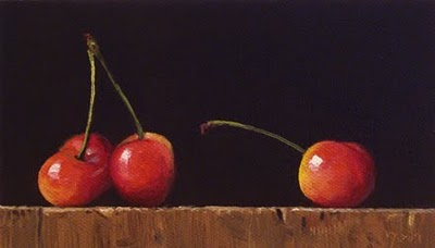 """Still Life with Three Cherries"" original fine art by Abbey Ryan"
