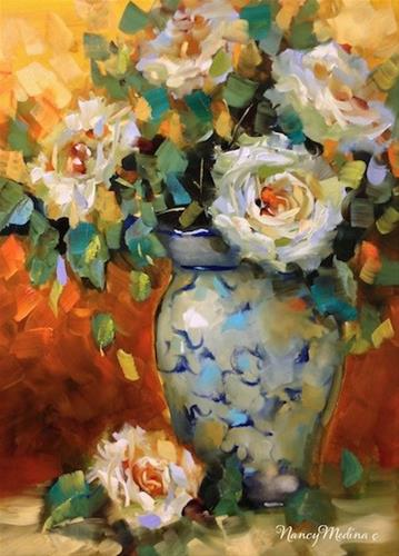 """Heat of the Night White Roses by Floral Artist Nancy Med"" original fine art by Nancy Medina"