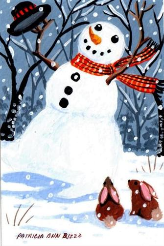 """The Dancing Snowman"" original fine art by Patricia Ann Rizzo"