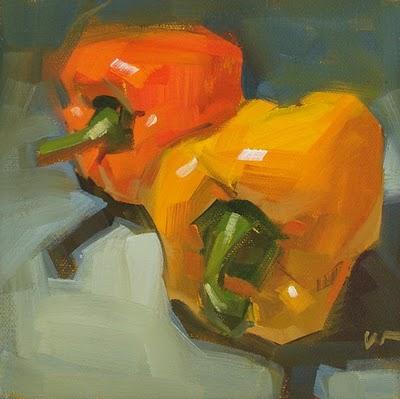 """Racing Peppers --- SOLD"" original fine art by Carol Marine"