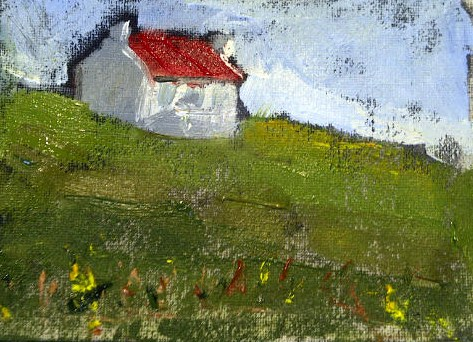 """Little Red Roof Cottage"" original fine art by Marcia Hodges"