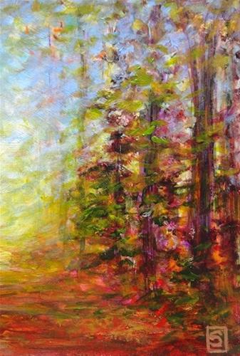 """""""3226-2 - Double Mat - Forest Walk II"""" original fine art by Sea Dean"""