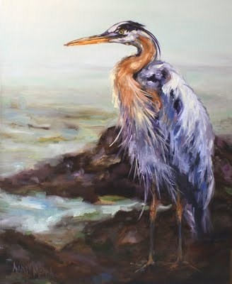 """Mister Blue, Great Blue Heron by Nancy Medina"" original fine art by Nancy Medina"