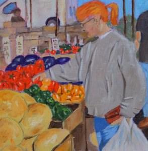 """Farmer's Market"" original fine art by Robert Frankis"