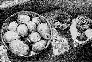 """Graphite: Lemons & Pears"" original fine art by Belinda Del Pesco"