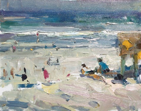 """END of series. Painting in California 26 Sunny beach II (sold)"" original fine art by Roos Schuring"