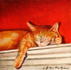 """Feline Security Guard"" original fine art by JoAnne Perez Robinson"