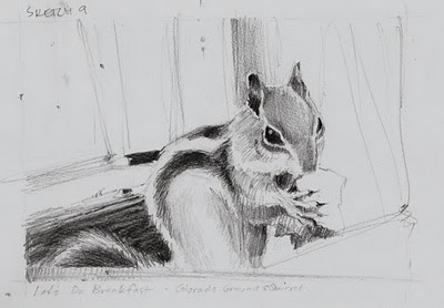 """Let's Do Breakfast__chipmunk, ground squirrel, sketch"" original fine art by V.... Vaughan"