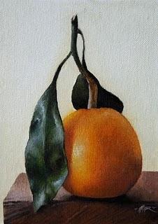 """Leaf & Tangerine"" original fine art by Jonathan Aller"