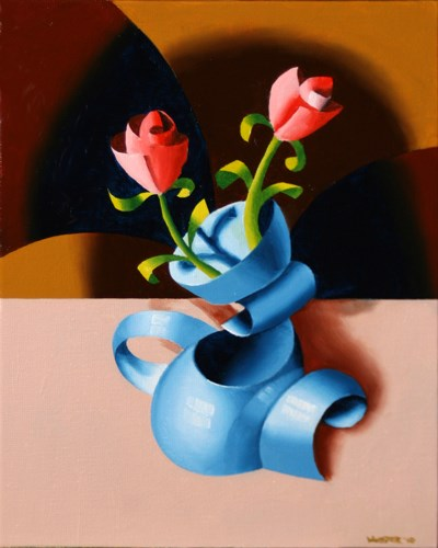 """Mark Webster - Futurist Roses in Vase - Abstract Geometric Oil Painting"" original fine art by Mark Webster"