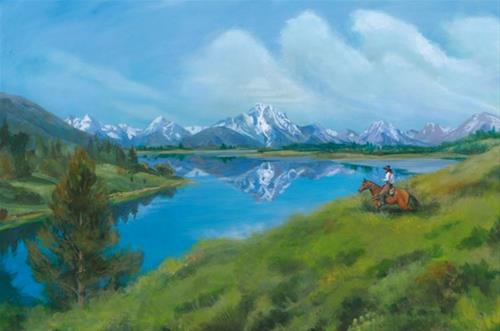 """Original Wyoming Mountain Landscape Painting Mount Moran Reflection by Nancee Jean Busse, Painter"" original fine art by Nancee Busse"