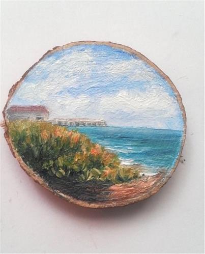 """Grassy Beach with Dock"" original fine art by Camille Morgan"