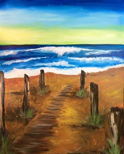 """""""The beach path"""" original fine art by Barbara Beckmann"""