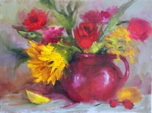 """Flowers in Pitcher, Floral Paintings by Arizona Artist Amy Whitehouse"" original fine art by Amy Whitehouse"