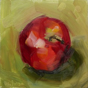"""Painting demo: Apple on Green"" original fine art by Deb Anderson"