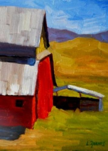 """Red Barn and Horse Shed"" original fine art by Liz Zornes"
