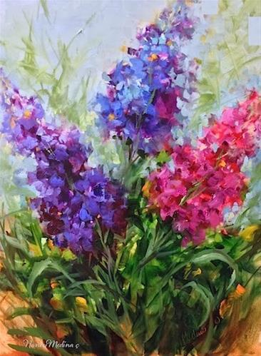 """Purple Pirouette Larkspur by Floral Artist Nancy Medina"" original fine art by Nancy Medina"