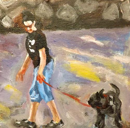 """A lady  holding A dogs,u10"" original fine art by Run-      Zhang Zane"