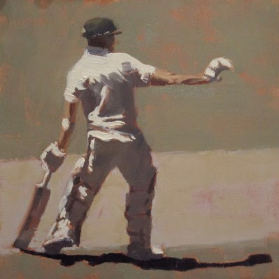 """WAIT! - Cricket at the MCG"" original fine art by Helen Cooper"