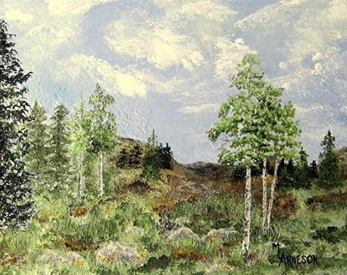 """Contemporary Landscape Art Painting, Aspen Trees,  Where the Sky Meets  by Mary Arneson Art-Works"" original fine art by Mary Arneson"